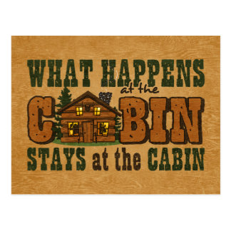 Happens At The Cabin Invitation Postcard