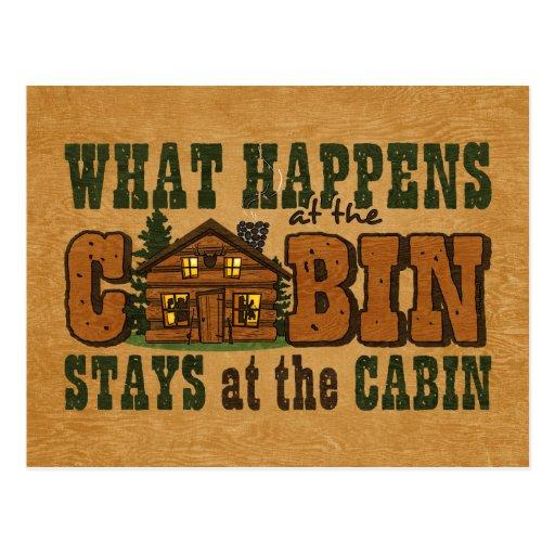 Happens At The Cabin Invitation Postcard