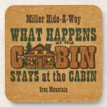 Happens At The Cabin Personalised Cork Coaster
