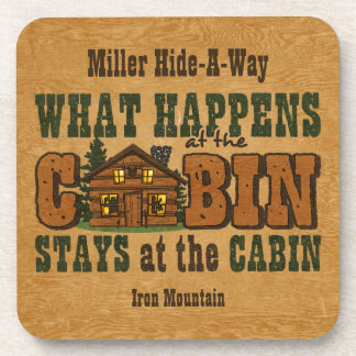 Happens At The Cabin Personalized Cork Coaster