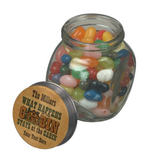 Happens At The Cabin Glass Candy Jar