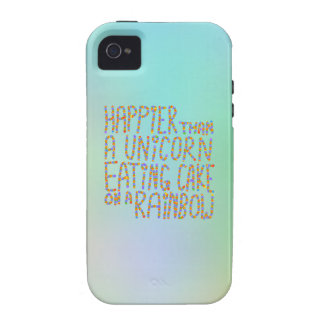 Happier Than A Unicorn Eating Cake On A Rainbow Vibe iPhone 4 Cover