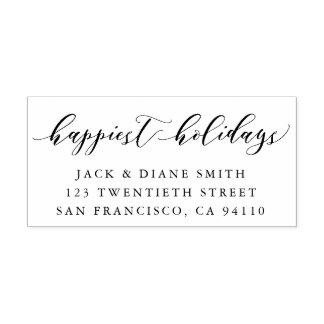 Happiest Holidays Calligraphy | Return Address Self-inking Stamp