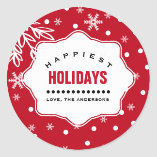 Happiest Holidays. Custom Christmas Stickers