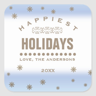 Happiest Holidays. Custom Christmas Stickers