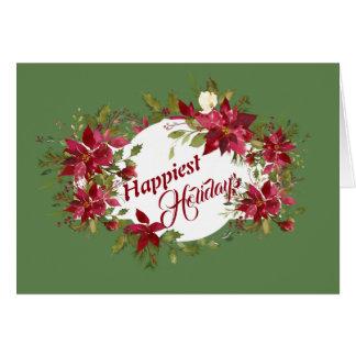 Happiest Holidays Poinsettias Card