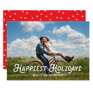 Happiest Holidays Retro Type Simple Holiday Photo Card