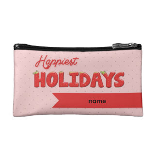 Happiest Holydays Strawberry Text Cosmetic Bag