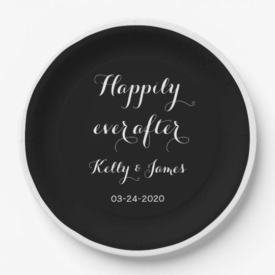 """Happily Ever After 9"""" Wedding Paper Plates"""