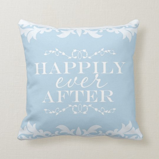 HAPPILY EVER AFTER Blue Princess Throw Pillow