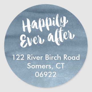 Happily Ever After,  Blue Watercolor Address Classic Round Sticker