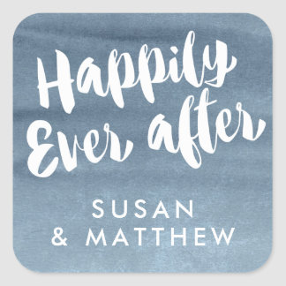 Happily Ever After, Favour Tag Blue Watercolor