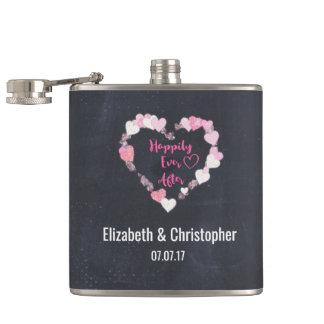 Happily Ever After Glittery Pink Hearts Wedding Hip Flask