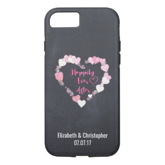 Happily Ever After Glittery Pink Hearts Wedding iPhone 8/7 Case