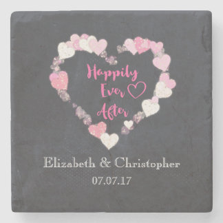 Happily Ever After Glittery Pink Hearts Wedding Stone Coaster