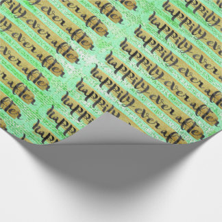 Happily Ever After Gold Mint Black Glam Packaging Wrapping Paper