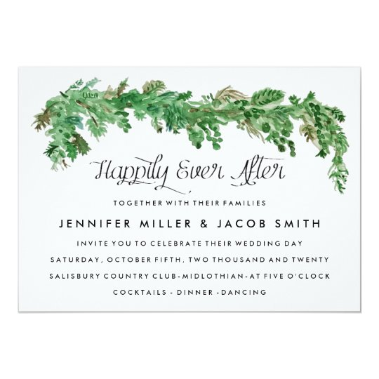 Happily Ever After  Greenery Wedding Invitation