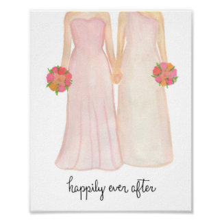Happily Ever After Lesbian Wedding Couple Poster