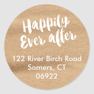 Happily Ever After,  Mocha Watercolor Address Classic Round Sticker
