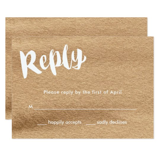 Happily Ever After, Mocha Watercolor Wedding Reply Card