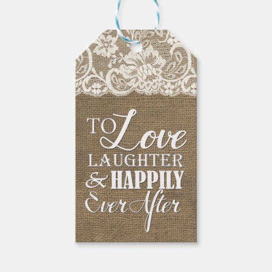 Happily Ever After Monogram Burlap Lace Wedding Gift