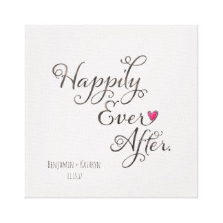 """Happily Ever After"" Personalised Couples Wedding Canvas Print"