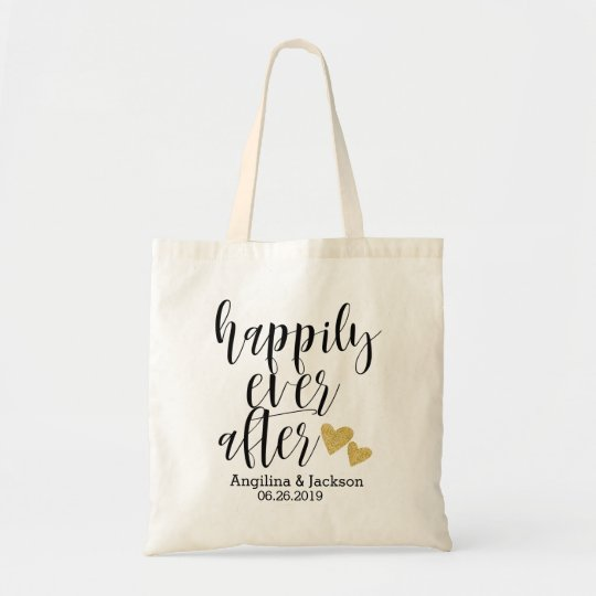 """Happily ever after"" Personalised Wedding Welcome Tote"