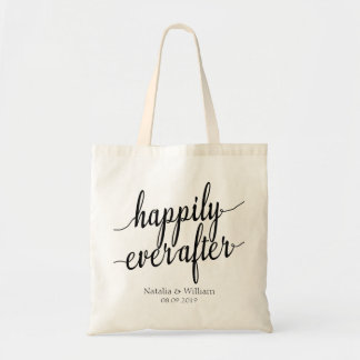 Happily ever after Personalized Wedding Welcome Budget Tote Bag