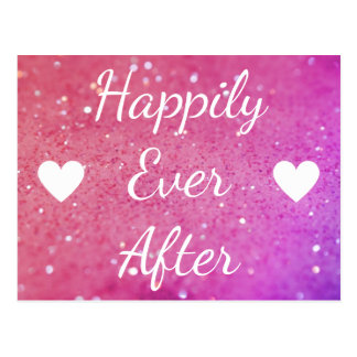 Happily Ever After Pink Bokeh Heart Postcard