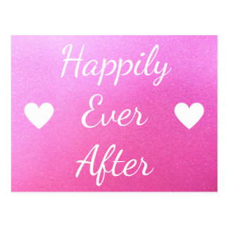 Happily Ever After Pink Glitter Heart Postcard