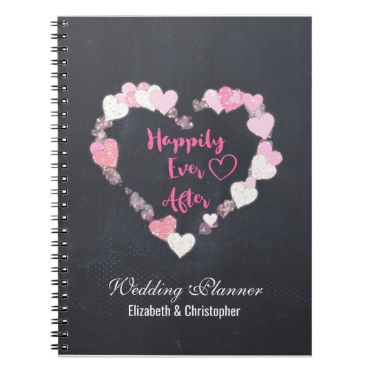 Happily Ever After Pink Hearts Wedding Planner Notebooks