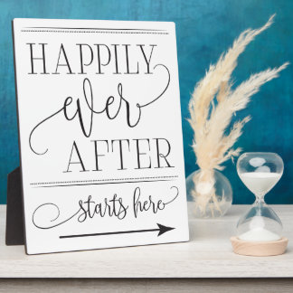 Happily Ever After Starts Here Wedding Sign Plaque