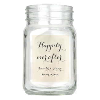 Happily Ever After Wedding Centerpieces 4 sides Mason Jar