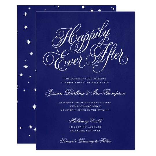 Happily Ever After Wedding Invitation Royal Blue
