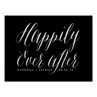 Happily Ever After Wedding Poster | Black
