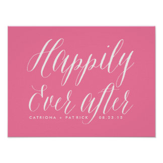 Happily Ever After Wedding Poster | Pink
