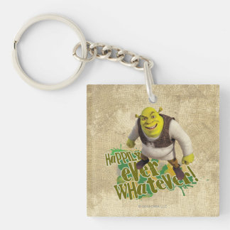 Happily Ever Whatever! Double-Sided Square Acrylic Key Ring
