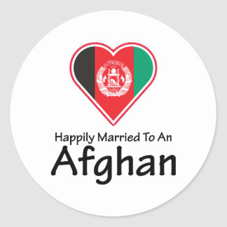 Happily Married Afghan Round Sticker