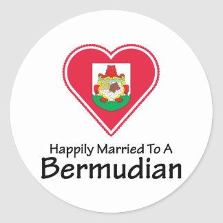Happily Married Bermudian Round Sticker