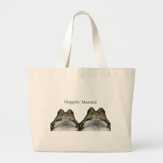 Happily Married (Hoppily) Two Frogs, Cute Jumbo Tote Bag