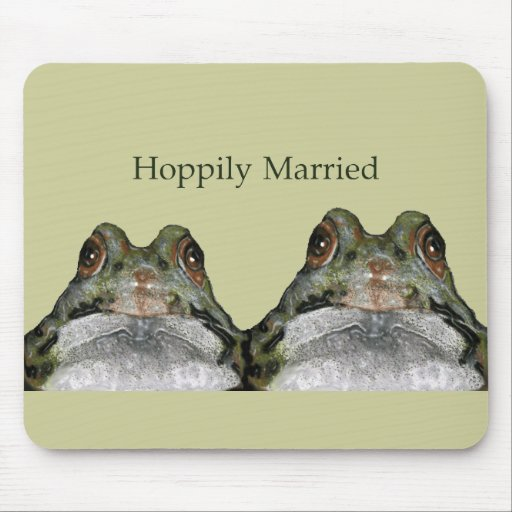 Happily Married (Hoppily) Two Frogs, Cute Mousepads