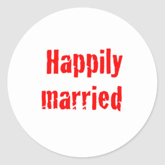 happily married round stickers