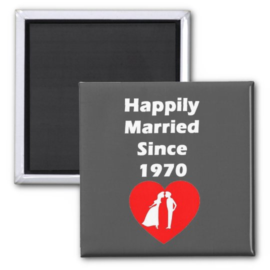 Happily Married Since 1970 Square Magnet
