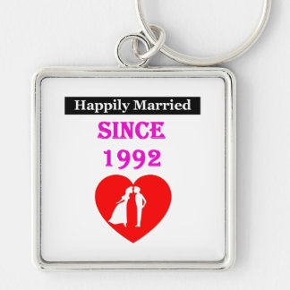 Happily Married Since 1992 Silver-Colored Square Key Ring