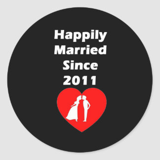 Happily Married Since 2011 Round Sticker