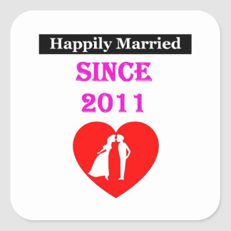 Happily Married Since 2011 Square Sticker