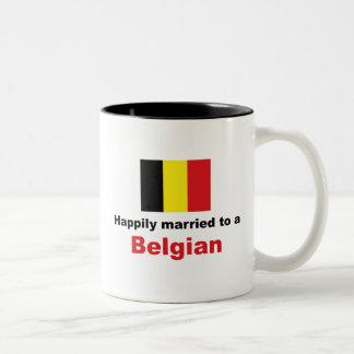 Happily Married To A Belgian Two-Tone Coffee Mug