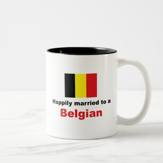 Happily Married To A Belgian Two-Tone Coffee Mug