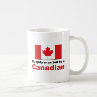 Happily Married To A Canadian Basic White Mug