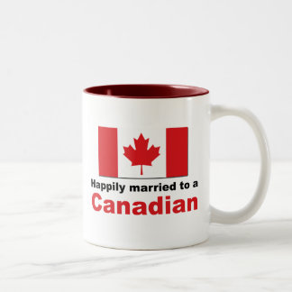 Happily Married To A Canadian Two-Tone Mug
